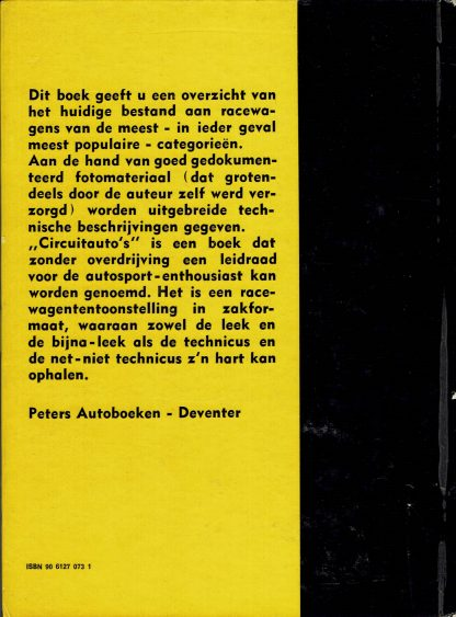 Vintage boek uit 1974-Circuitauto's - Technisch rapport van Eddie Guba