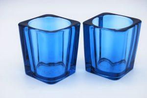 Pentik Finland- waxine houders- blauw glas
