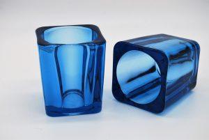 Stoere waxine kandelaars blauw glas-Scandinavisch design