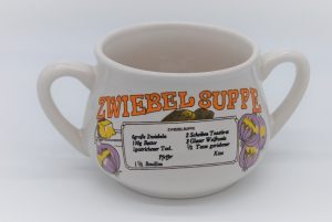 Vintage soepkom Zwiebel suppe-duitstalig