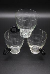 Vintage theeglazen dun geslepen glas