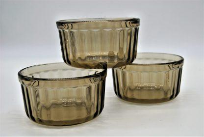 vintage soufflé bakjes in gerookt glas van het merk Acropal.