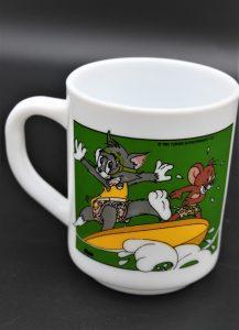 Vintage beker Arcopal France-Tom & Jerry op surfboard