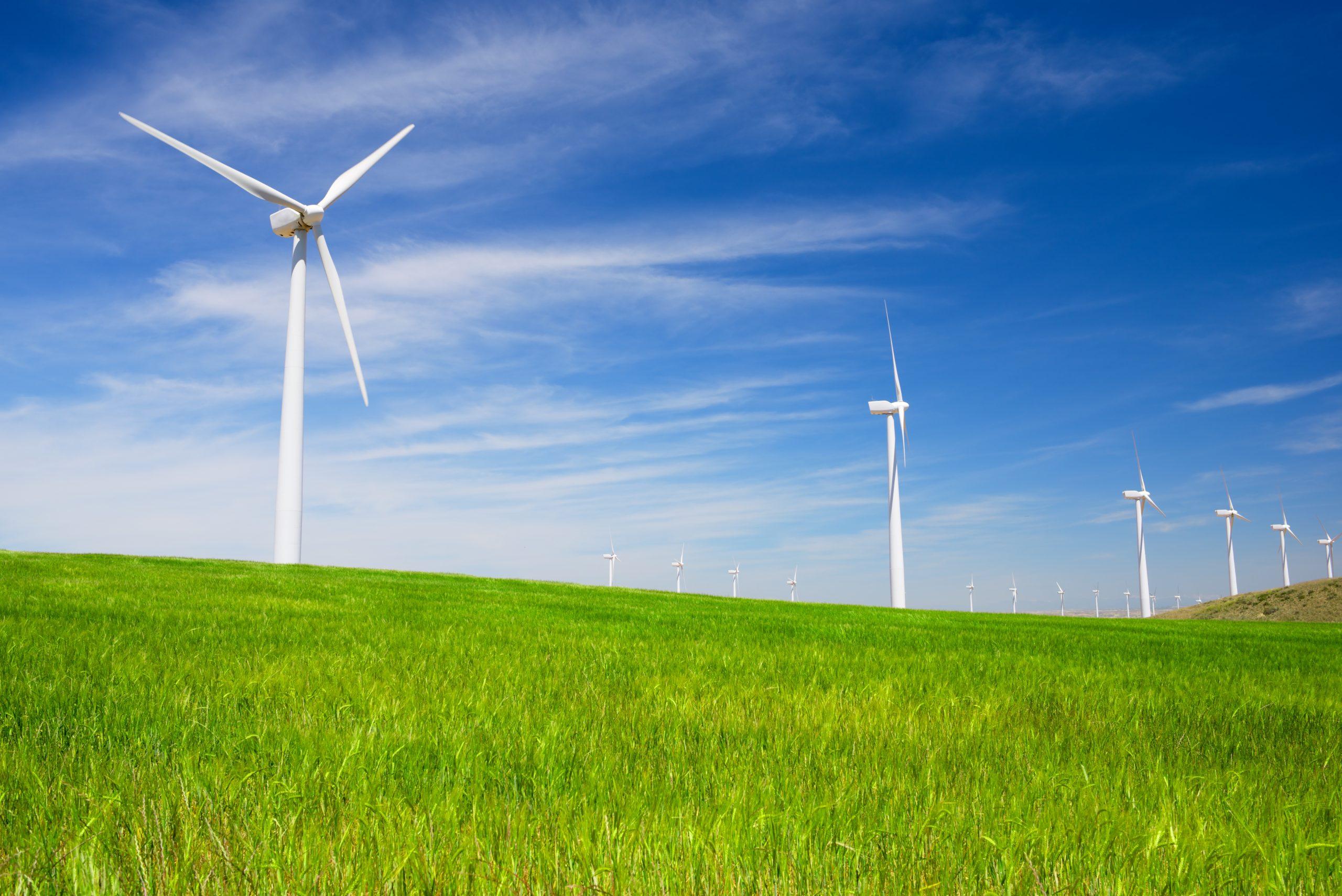 Windmills for electric power production, Zaragoza province, Aragon, Spain