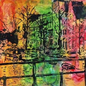 Prinsengracht met boot.  acryl  90 x 90 cm