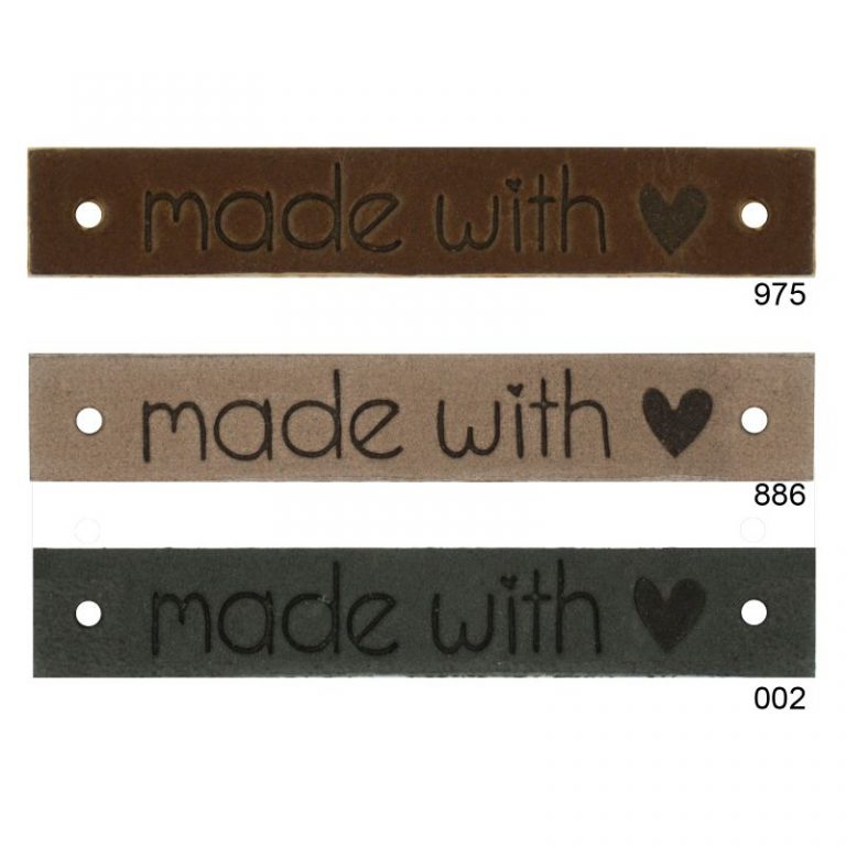 leren labels made with love