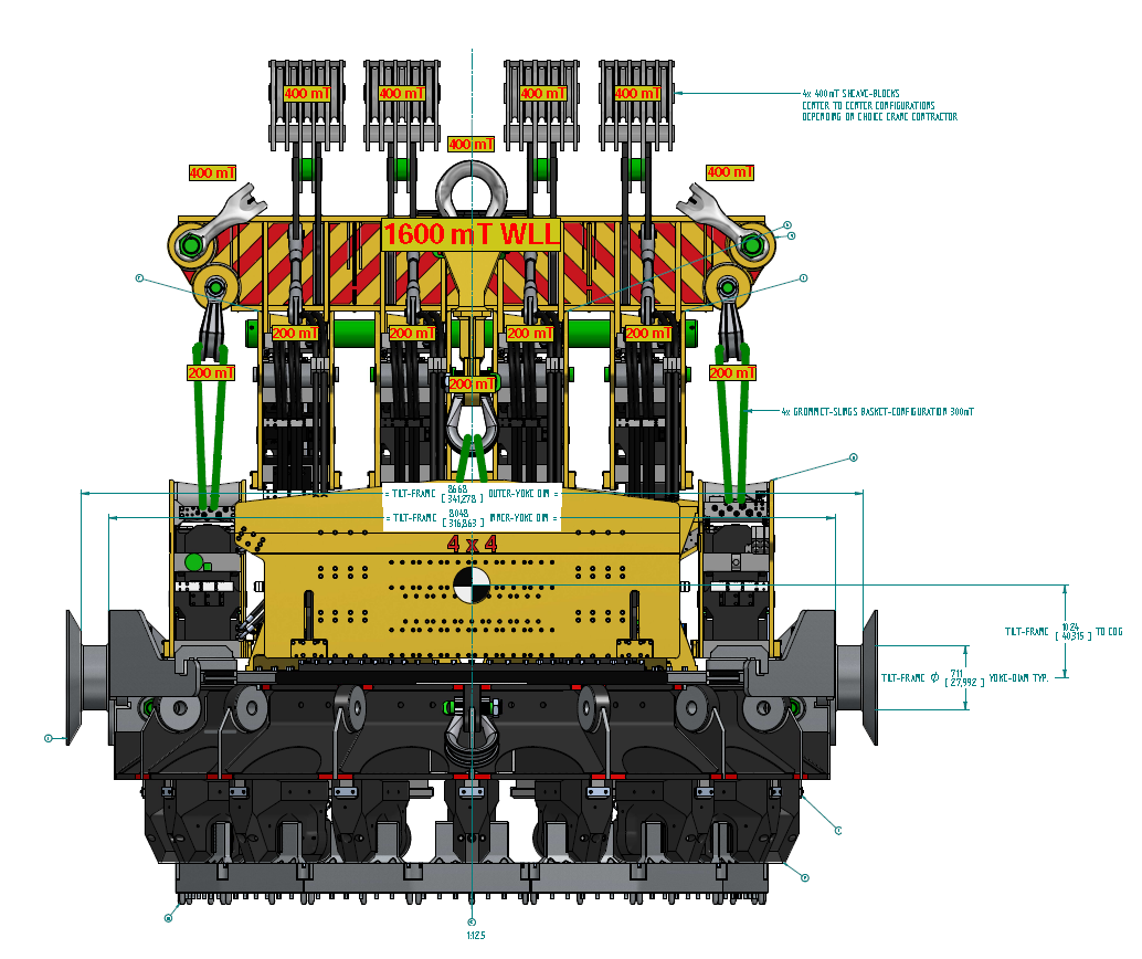 Surface to In-Seabed Foundation Techniques - complete Giant Vibro System with Yoke-Tilt Frames for Pick-n-Place 6.5m Diam Piles