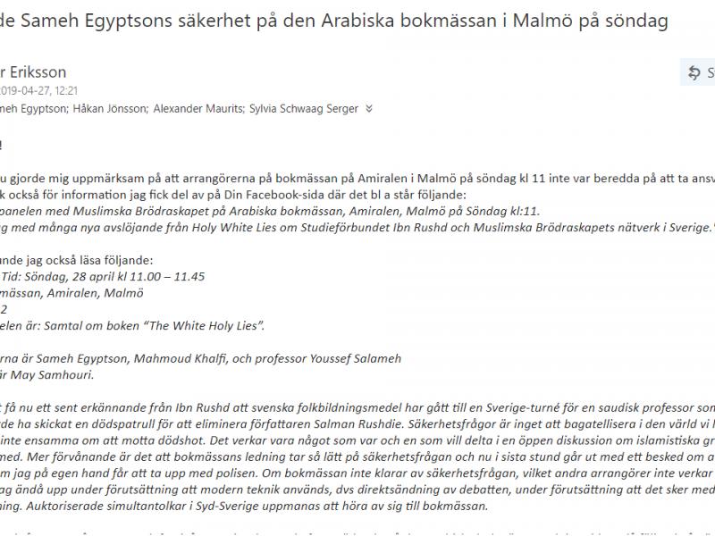 Därför ska jag delta i panelen imorgon trots avrådan från SÄPO och Lunds universitet