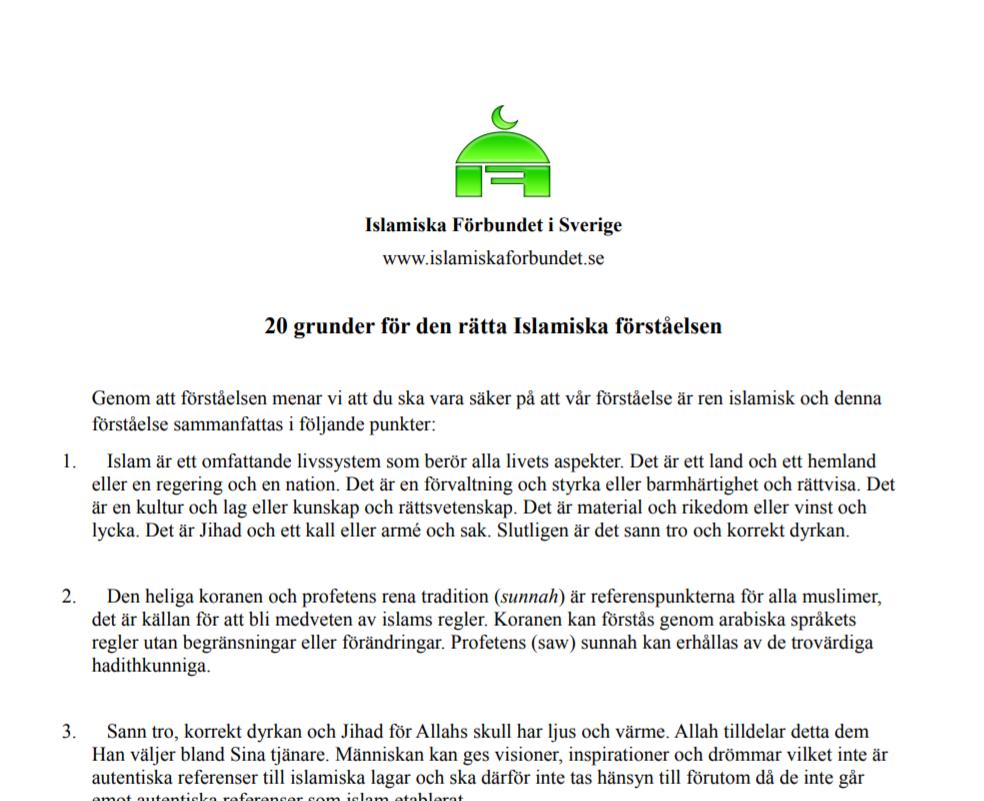 Fyra egna dokument som avslöjar Islamiska Förbundets politiska tillhörighet