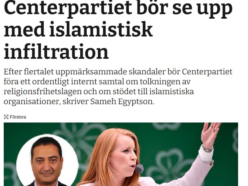 Centerpartiet bör se upp med islamistisk infiltration