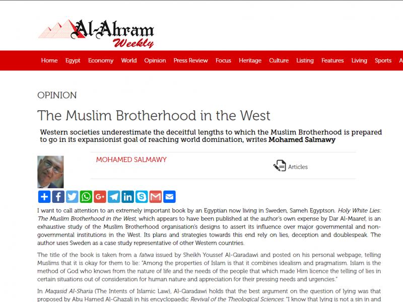 Recentioner för Holy White Lies i Al-Ahrams tidningar har försvunnit men de kan läsas här