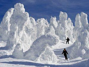 Skiën in Tohoku tussen echte sneeuwmonsters