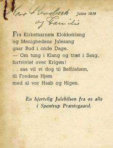 En julehilsen fra Spentrup Præstegaard, 1939.