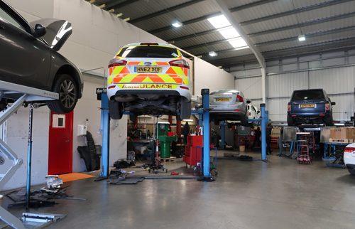 ambulance in workshop