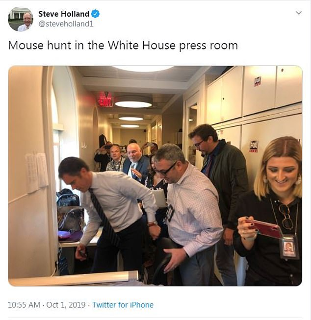 Mouse hunt in the White House press room