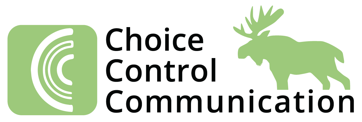 CCC logo (CCC choice communication and a green moose!)