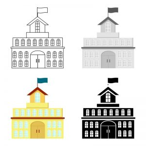 4 Clipart building with flag