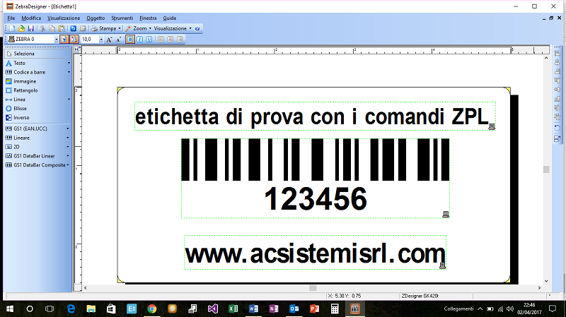 etichetta con comandi ZPL