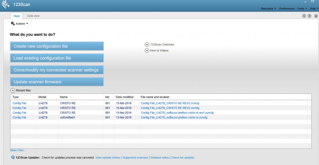 schermata principale 123Scan