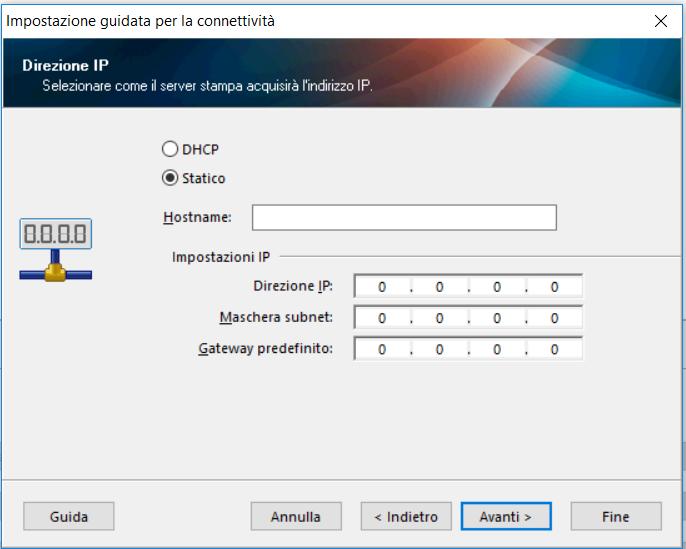 impostazione IP stampante Zebra