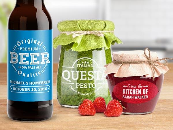 etichetta per birra e confetture