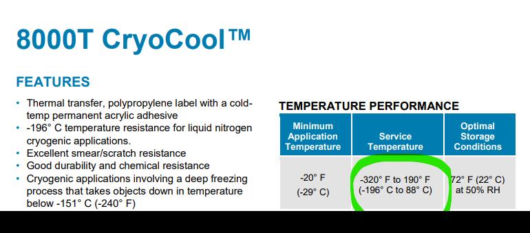 etichette per ambienti freddi