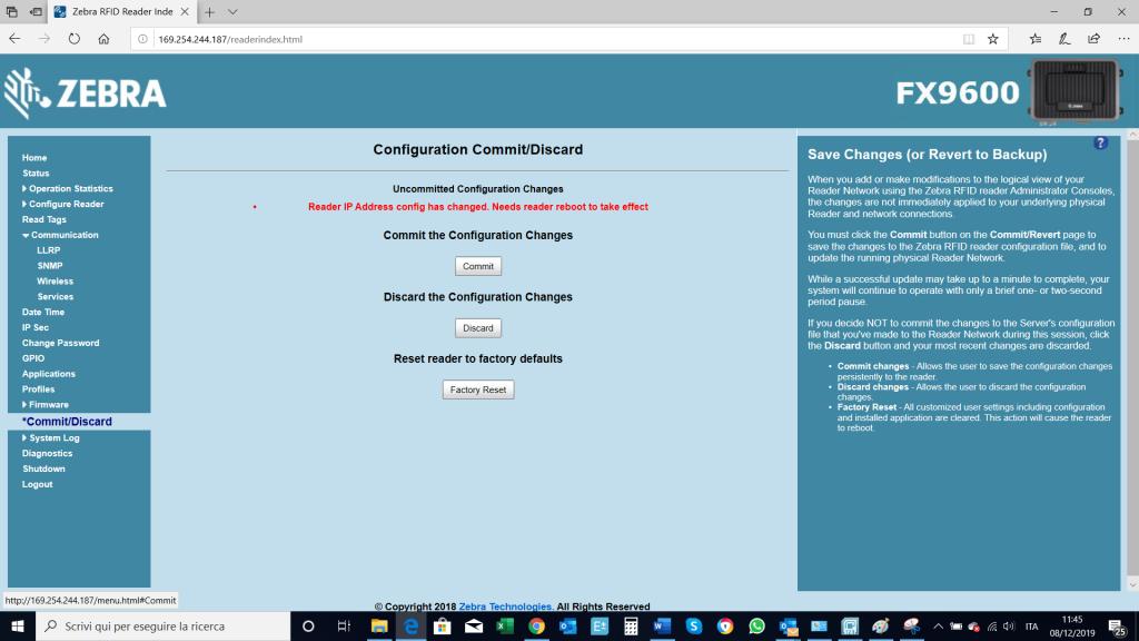configurazione parametri FX9600