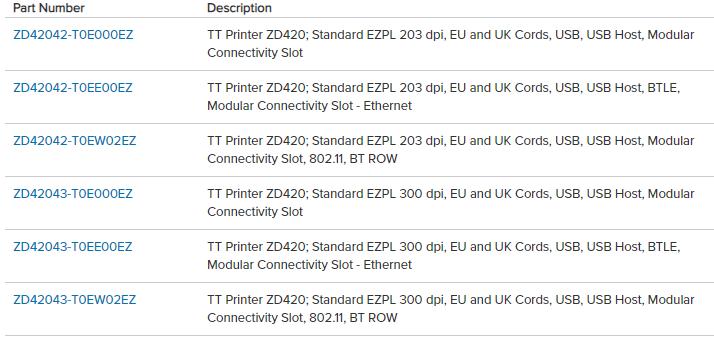 configurazioni stampante di etichette ZD420T