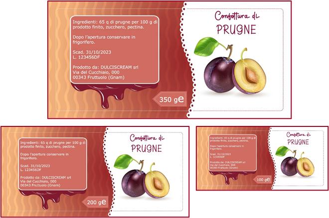 etichette a colori per marmellate e confetture