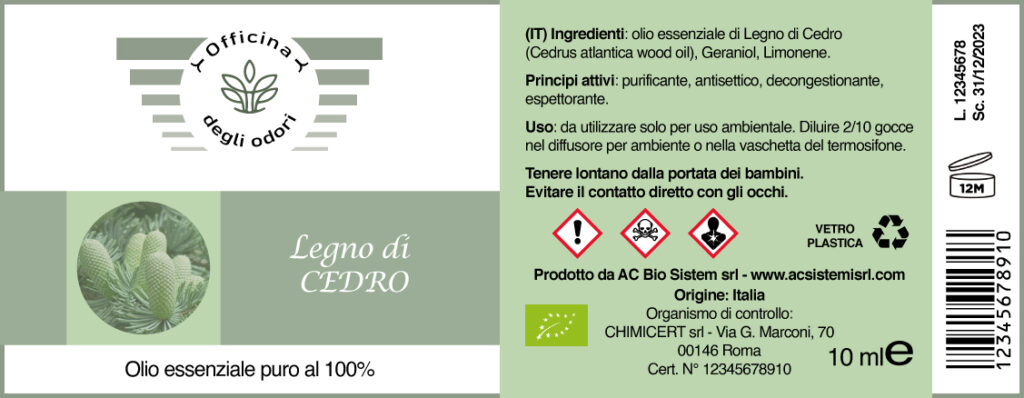 Etichettatura a norma di olii essenziali per diffusori ambientali