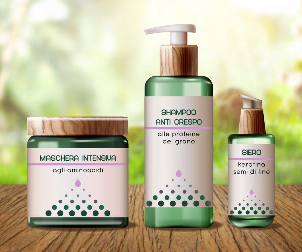 design di etichette - linea cosmetici per capelli - shampoo