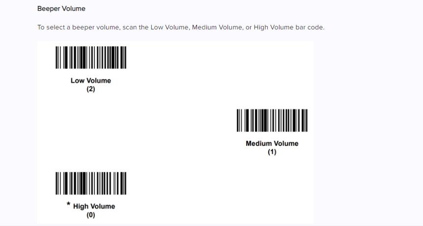 configurazione del volume del lettore di codice a barre