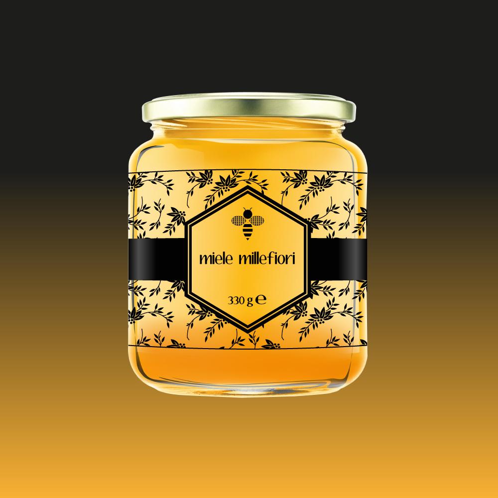 Design etichetta adesiva personalizzata per miele
