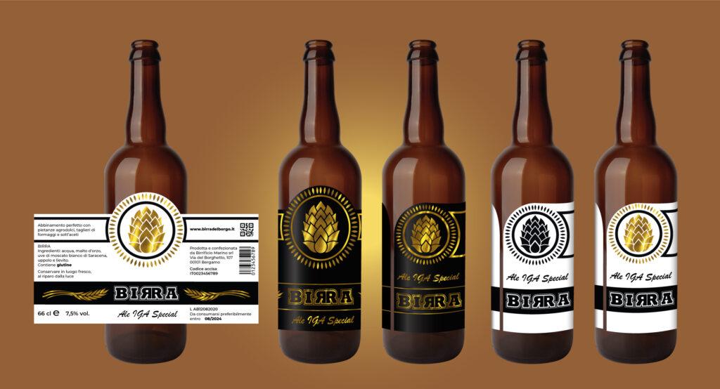 Mockup per bottiglie di birra-etichette in bobina-grafica personalizzata