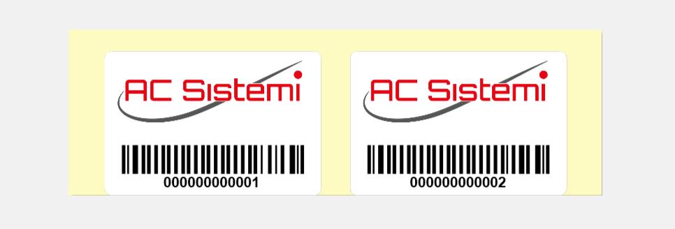 anteprima di stampa di etichette in doppia pista con contatore