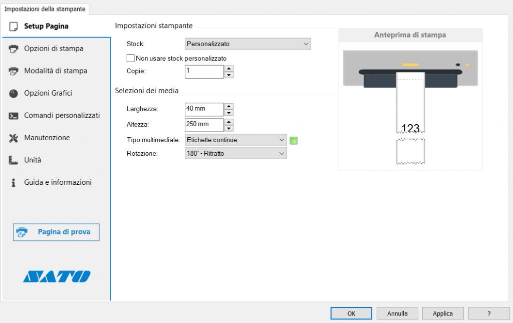 impostazione driver sato ws4 per stampare a modulo CONTINUO