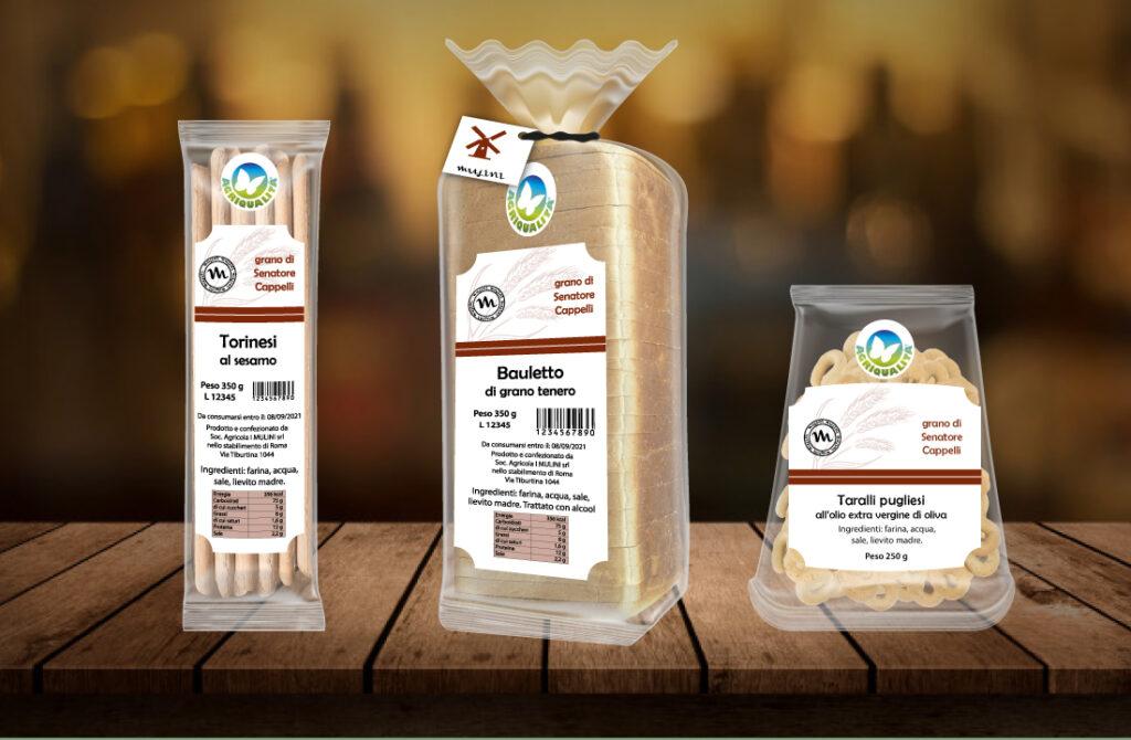 grafica etichetta per prodotti alimentari in busta