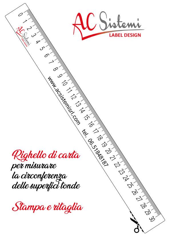 righello in formato PDF da stampare su fogli A4 e ritagliare per misurare le bottiglie e i vasetti