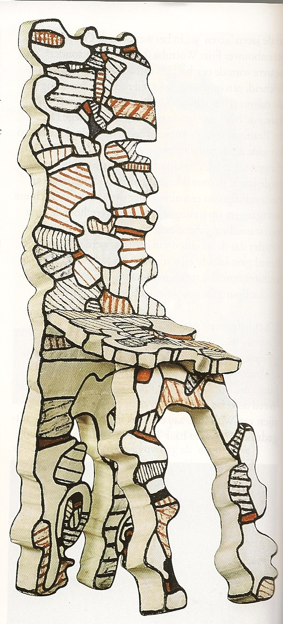 Jean Dubuffet, Stoel II, 1967, epoxy en polyurethaanverf, 168x60x75 cm, Privé-collectie.