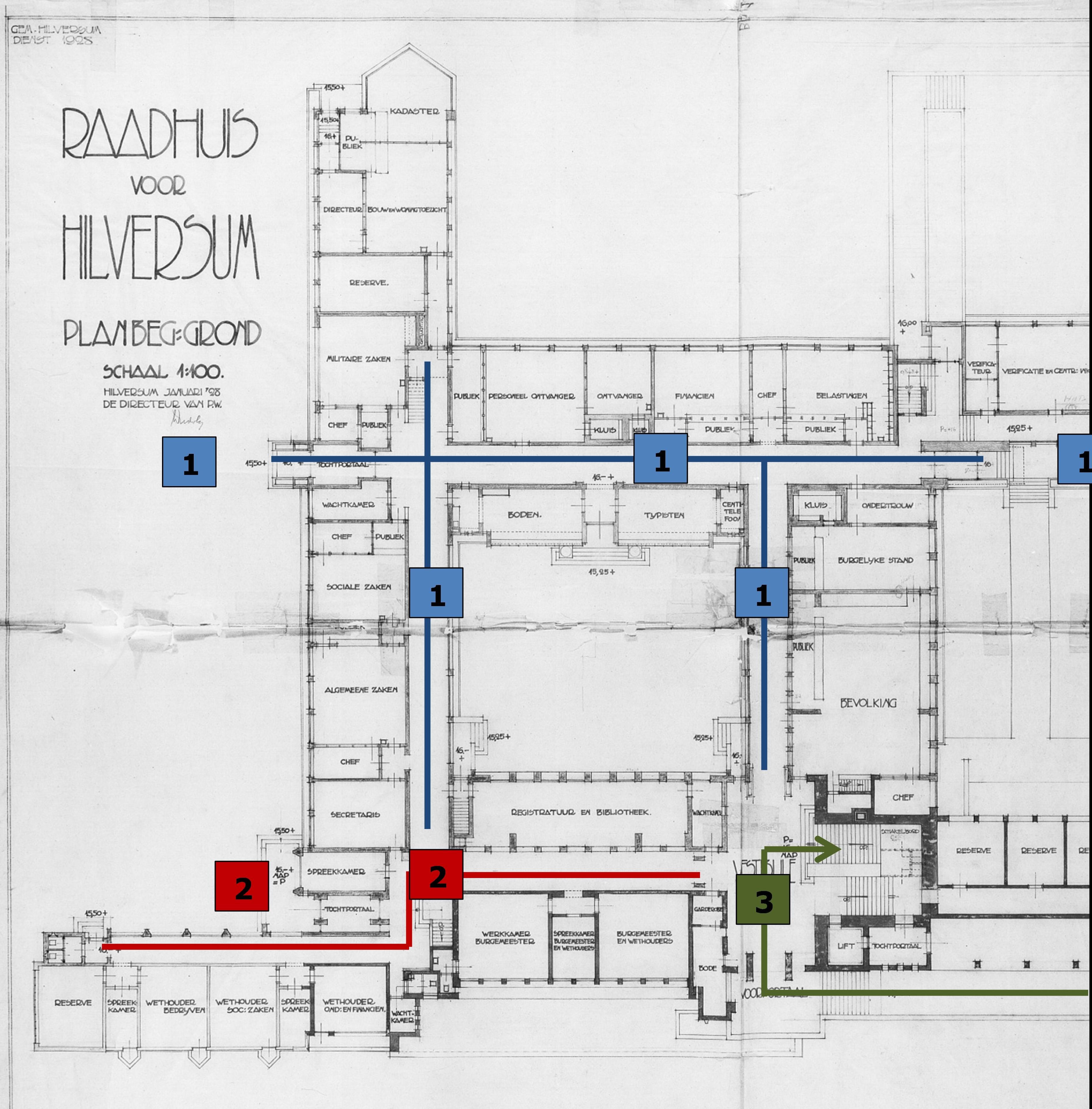 De plattegrond van de begane grond van het hoofdgebouw met de publieks- en ambtenareningang en de bijbehorende ruimten (zie 1), de ingang en de ruimten voor de burgemeester en wethouders (zie 2) en de officiële ingang, hal en trappartij (zie 3), Streekarchief Gooi en Vechtstreek te Hilversum, Inventarisnummer SAGV169-2323.