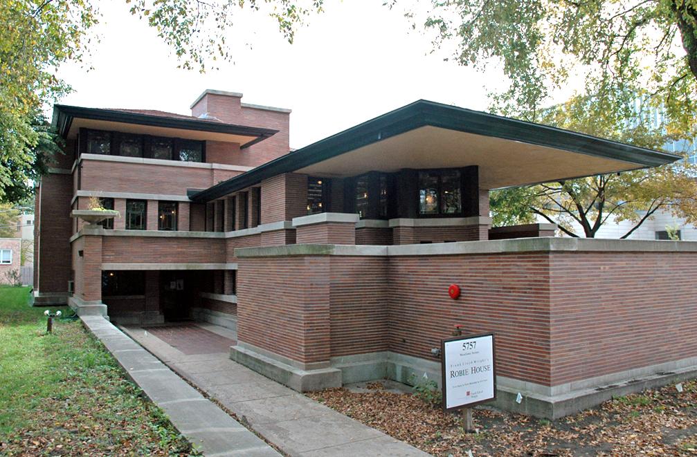 Het Robie House in Chicago van Frank Lloyd Wright uit 1908. Foto: wikimedia commons.