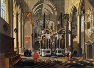 Bartholomeus van Bassen, Interieur van een gefantaseerde kerk met het grafmonument van Willem van Oranje, 1620, olieverf op doek, 112x151cm, Museum voor Schone Kunsten Boedapest (afbeelding Web Gallery of Art).