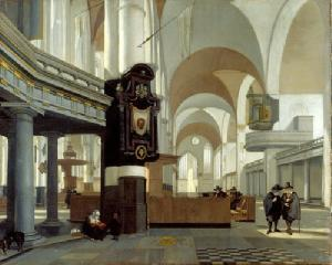 Emanuel de Witte, Interieur van de Oude Kerk in Amsterdam, 1660, olieverf  op doek, 86,5x107cm, Staatsgalerie Stuttgart (afbeelding Website Staatsgalerie Stuttgart).
