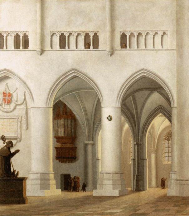 Pieter Saenredam, Interieur van de Bavokerk te Haarlem, 1630, olieverf op paneel, 41x37cm, Musée du Louvre Parijs (afbeelding Web Gallery of Art).