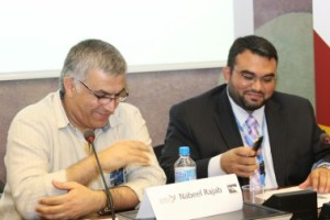 BCHR President Nabeel Rajab and ADHRB Executive Director Husain Abdulla prepare to speak at Concrete Steps
