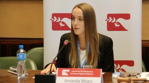 ADHRB UN Liaison Amanda Milani speaks at Saudi Side Event Panel