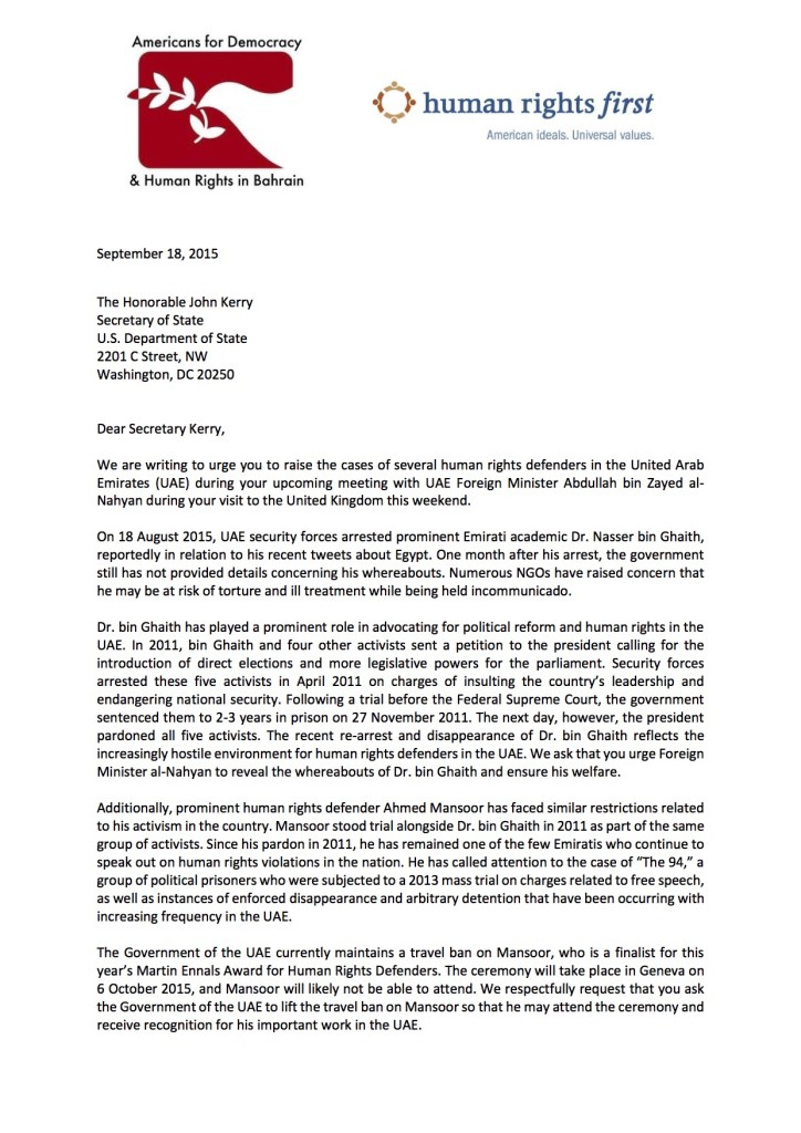 Letter to Sec. Kerry UAE FM_HRF