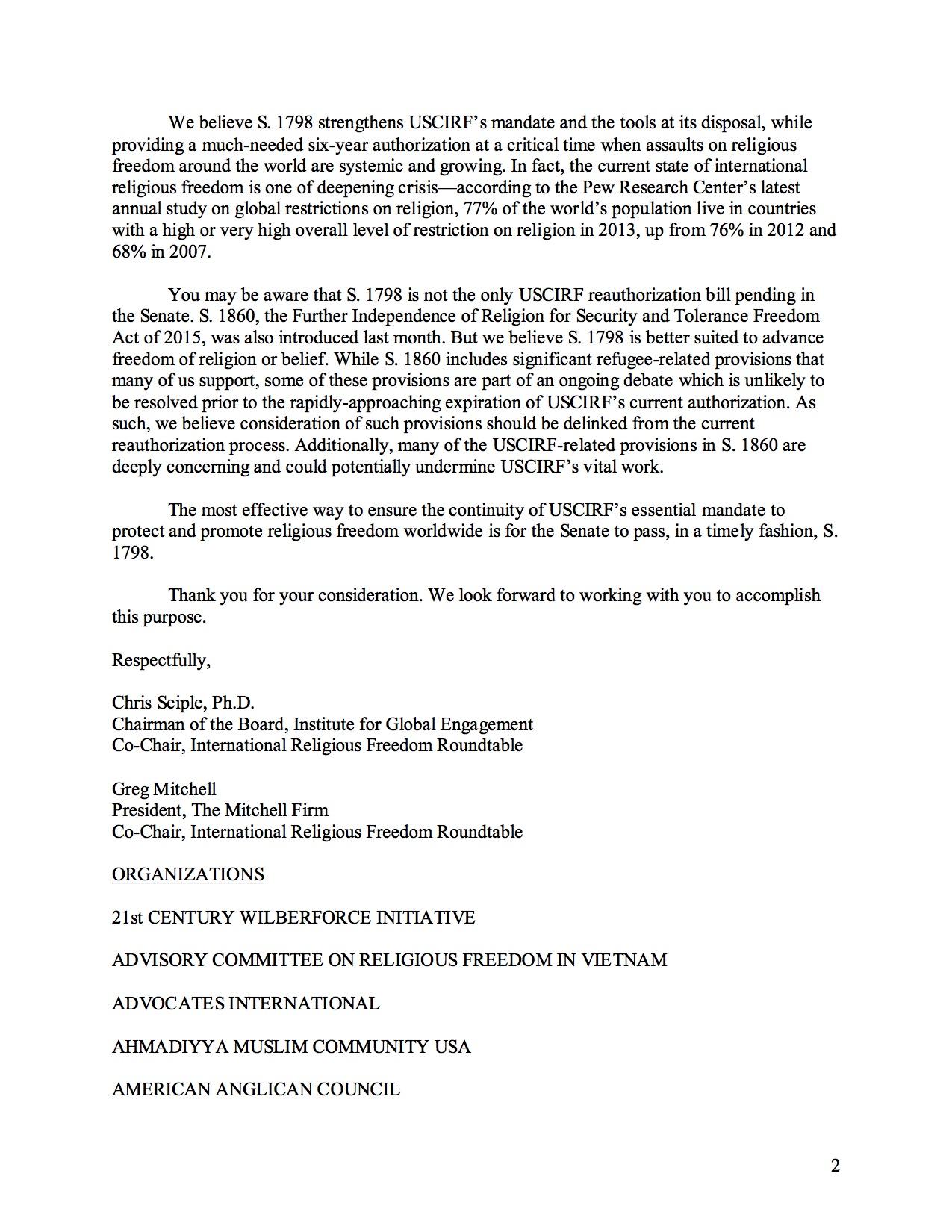 S_1798_USCIRF_Reauth_Letter_Sept9_2015