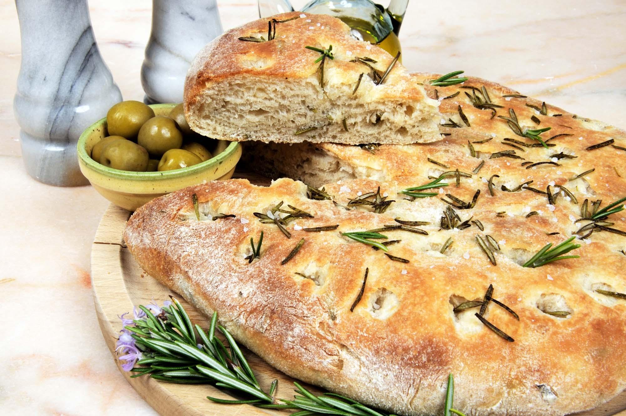 Bettina's brød med olivenolie, flagesalt og krydderier