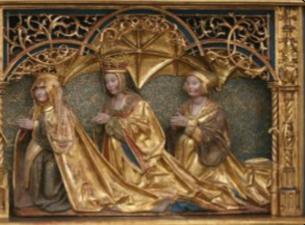 Yderst til venstre ses Dronning Christine - giveren af altertavlen